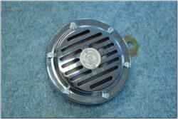klakson 6V - originál + štítek PAL stříbrný ( Panelka ) chrom, černý