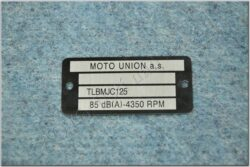 Plate, Name & serial number  MJC ( Dandy MOTO UNION )