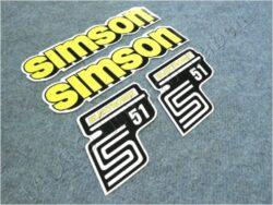 Stickers set SIMSON ELECTRONIC - yellow ( Simson S51 )