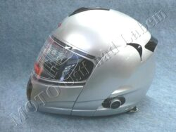 Flip-Up Helmet FU3B - silver, bluetooth ( Motowell )