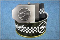 belt TRABANT / textile black checkerboard - size 150cm